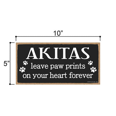 Akitas Leave Paw Prints Wooden Home Decor for Dog Pet Lovers, Decorative Wall Sign, 5 Inches by 10 Inches