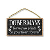Dobermans Leave Paw Prints Wooden Home Decor for Dog Pet Lovers, Decorative Wall Sign, 5 Inches by 10 Inches