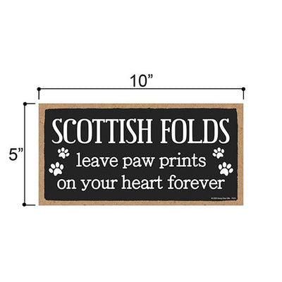 Scottish Folds Leave Paw Prints Wooden Home Decor for Cat Pet Lovers, Decorative Wall Sign, 5 Inches by 10 Inches