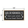 Goldendoodles Leave Paw Prints Wooden Home Decor for Dog Pet Lovers, Decorative Wall Sign, 5 Inches by 10 Inches