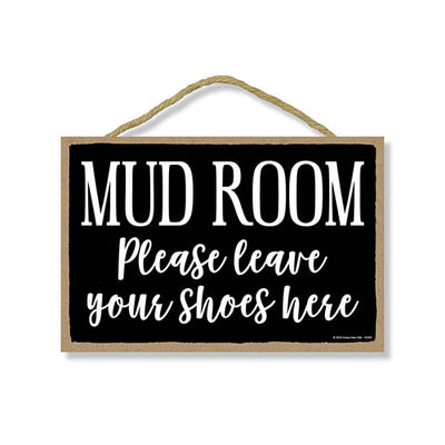 Mudroom Please Leave Your Shoes Here, Mudroom Wall Decor Signs, Decorative Hanging Wood Door Sign, 7 Inches by 10.5 Inches