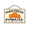 Farm Fresh Pumpkins, Fall and Autumn Pumpkin Patch Signs Decor, Decorative Wood Hanging Sign, 7 Inches by 10.5 Inches