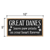 Great Danes Leave Paw Prints, Wooden Pet Memorial Home Decor, Decorative Dog Bereavement Wall Sign, 5 Inches by 10 Inches