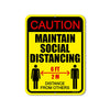 Caution Maintain Social Distancing 6 ft Distance from Others 9 inch by 12 inch Metal Social Distancing Sign, Safety & Social Awareness Office Signs