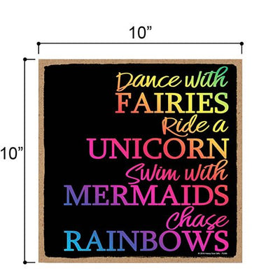 Dance with Fairies - 10 x 10 inch Hanging, Wall Art, Decorative Wood Sign Home Decor