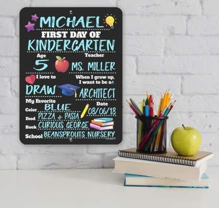 NEW Apple First And Last Day Of School Reversible Chalkboard Sign