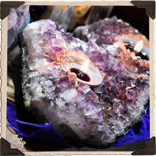 AMETHYST CRYSTAL TEALIGHT CANDLE HOLDER. For Divination & Spiritual Growth.