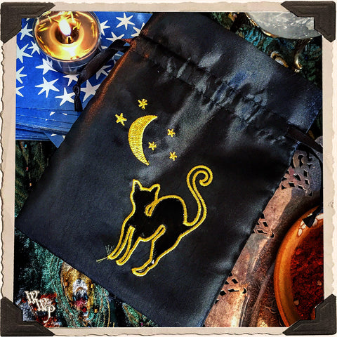 Black Cat & Moon Embroidered Drawstring Pouch. Witch's Keepsake Bag.