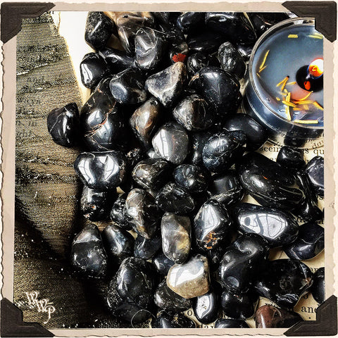BLACK ONYX TUMBLED CRYSTAL. For Protection, Grounding & Shamanic Healing.