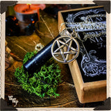 BLACK TOURMALINE PENTACLE NECKLACE. Sterling Silver Crystal Talisman for Witchcraft & Spiritual Protection