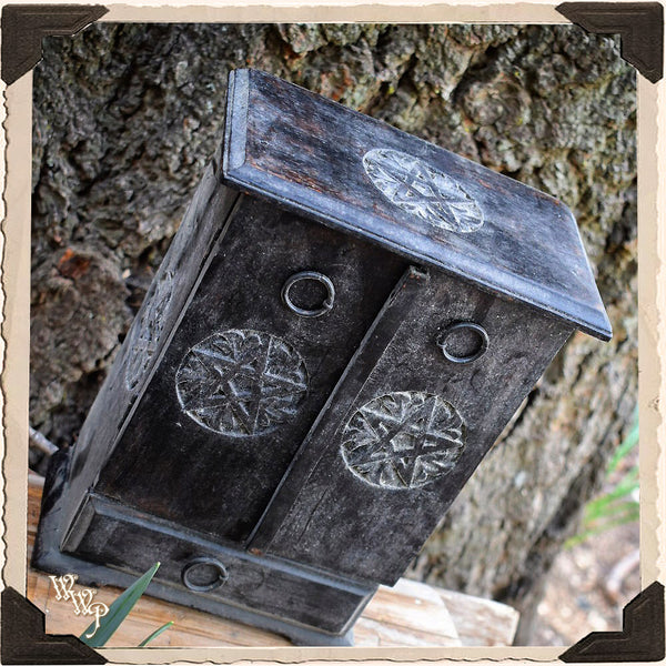WITCH'S ALTAR PENTACLE CUPBOARD. Black Wood Box for Crystals, Herbs & Potions.