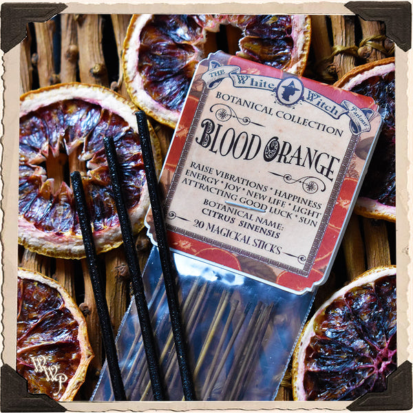 BLOOD ORANGE INCENSE. 20 Stick Pack. Single-Note Botanical. Citrus Scent, Blessed by Clear Quartz Crystal.