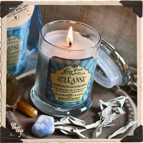 CLEANSE Elixir Apothecary CANDLE 7oz. For Aura Purity, Removing Negative Energy & Full Moon Work.