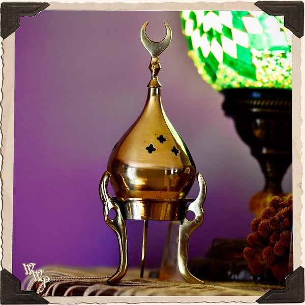CRESCENT MOON BRASS INCENSE BURNER. Altar Decor Tripod For Cone Incense.