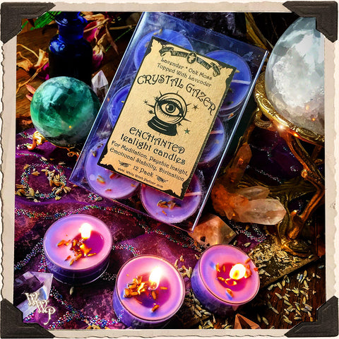 CRYSTAL GAZER TEALIGHT CANDLES. 12 Pack. For Meditation, Psychic Insight, Emotional Stability & Divination.