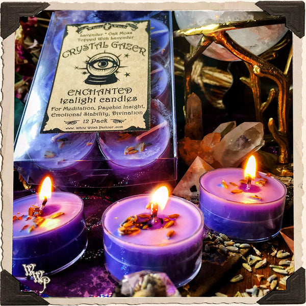 CRYSTAL GAZER TEALIGHT CANDLES. 12 Pack. For Meditation, Psychic Insight & Divination.