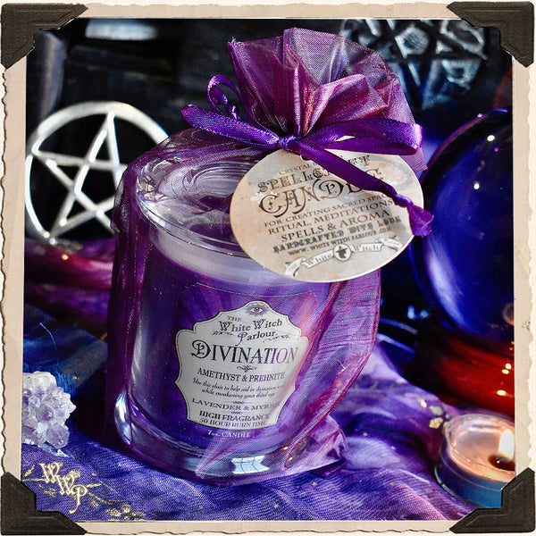 DIVINATION Elixir Apothecary CANDLE 7oz. For Seance, Psychic Awareness & Meditation.