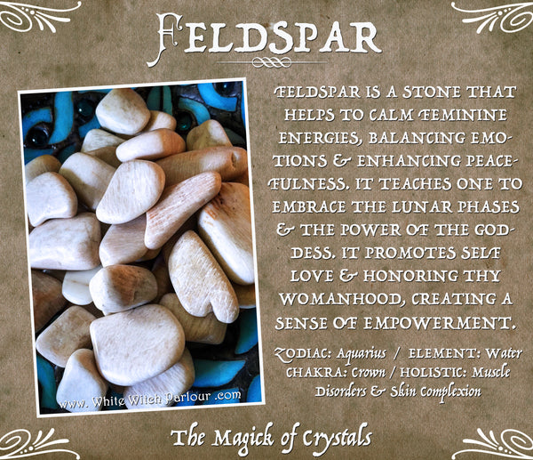 FELDSPAR TUMBLED CRYSTAL. For Full Moon, Feminine Empowerment & Creating Balance.