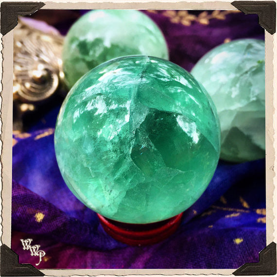 FLUORITE SPHERE Crystal. For Spiritual Awakening & Psychic Awareness. 40mm
