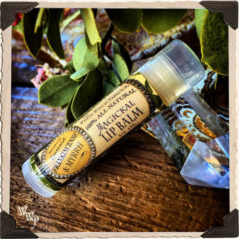 FRANKINCENSE & MYRRH Lip Balm All Natural. Blessed by Emerald Crystal