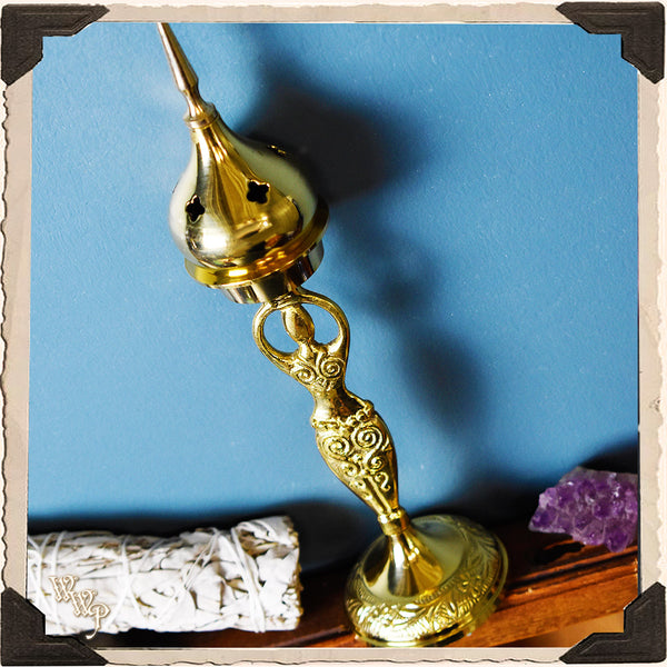 BRASS GODDESS INCENSE BURNER. Upright Cone Incense Holder. For Altar Decor