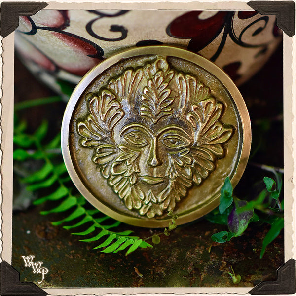 GREEN MAN BRASS GARDEN MEDALLION. For Fertility & Honoring Nature.