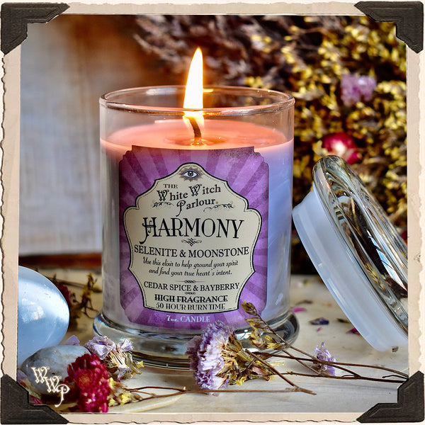 HARMONY Elixir Apothecary CANDLE 7oz. For Peace, Divine Guidance & Moon Energy.