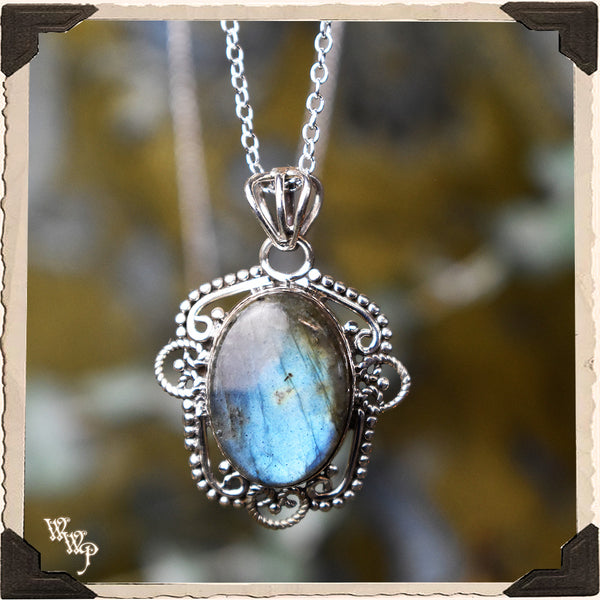 LIMITED EDITION: LABRADORITE CRYSTAL HAMSA NECKLACE. For Moon Healing, Spiritual Strength & Psychic Enhancement. (SKU: HLN45)