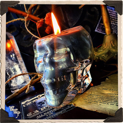 IMMORTAL Apothecary SKULL CANDLE 6oz. All Natural. Scent of Patchouli, Clove & Cinnamon. Blessed by Tiger's Eye, Moonstone & Amethyst Crystals.