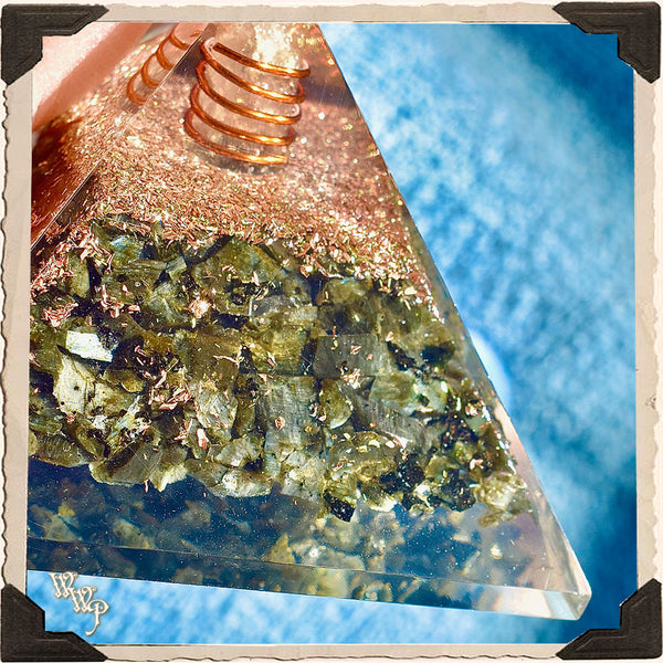 LARVIKITE ORGONE PYRAMID. With Clear Quartz Copper Coil For Spiritual Connections & Deep Wisdom.