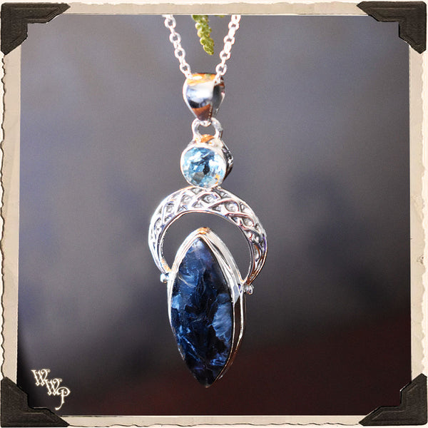 LIMITED EDITION: PIETERSITE & TOPAZ CRESCENT MOON NECKLACE. For Amplifying Energy, Imagination & Creating Change.