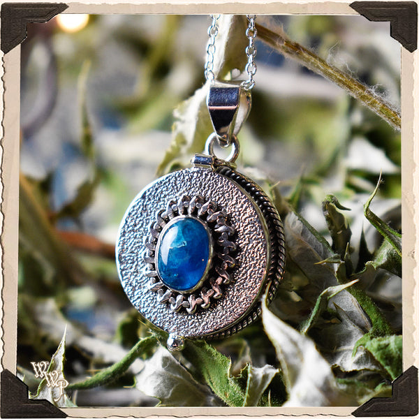 LIMITED EDITION : BLUE APATITE ROUND LOCKET NECKLACE. For Speaking Your Truth & Manifestation. Sterling Silver (SKU: MB33R)