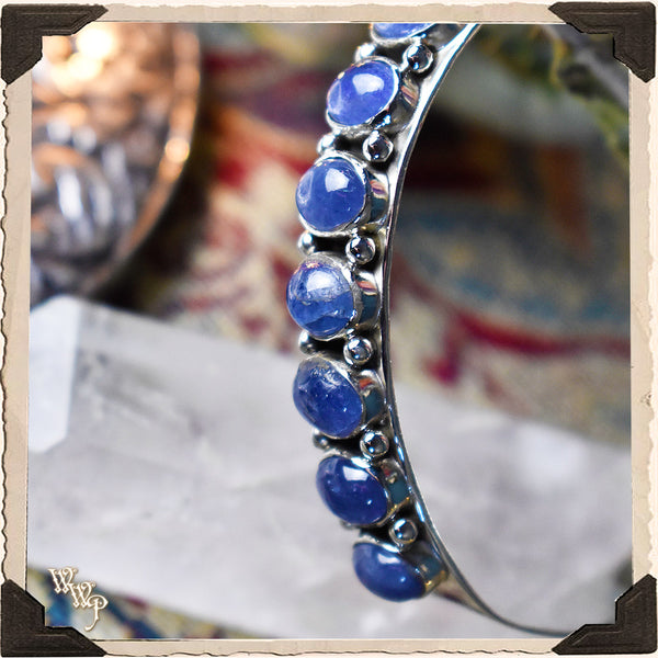 LIMITED EDITION : BLUE TANZANITE 'OPPORTUNITY' CUFF BRACELET. For Slowing Down, Elegance & Composure. Sterling Silver (SKU: MB33T)