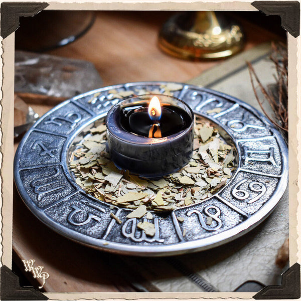 METAL ZODIAC DISH. For Altar decor, Candles, Crystals & Incense.