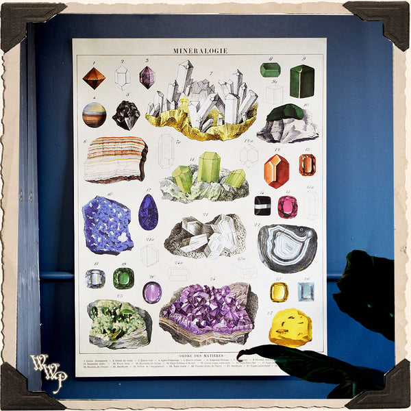 ' GEMSTONES & MINEROLOGY ' CRYSTALS POSTER. Vintage Style Print For Sacred Space Decor