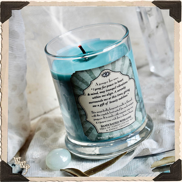 PEACEFUL Elixir Apothecary CANDLE 7oz. For Inner Peace, Tranquility & Hope.