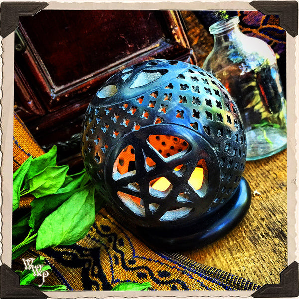 BLACK PENTACLE CANDLE HOLDER GLOBE. Carved Soapstone. Cone Incense Burner.