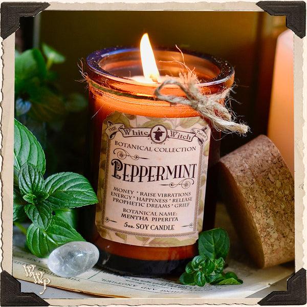 PEPPERMINT CANDLE APOTHECARY 5oz. For Money Drawing & Raising Vibrations.