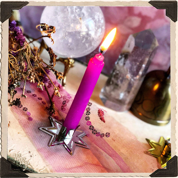 SILVER STAR CANDLE HOLDER. For Mini Taper & Spell Candles.