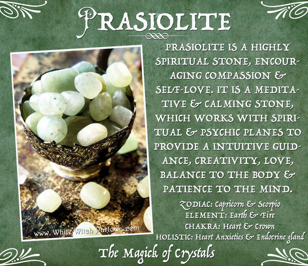 PRASIOLITE TUMBLED CRYSTAL. For Connection to Higher Self, Loving Energy & Meditation.
