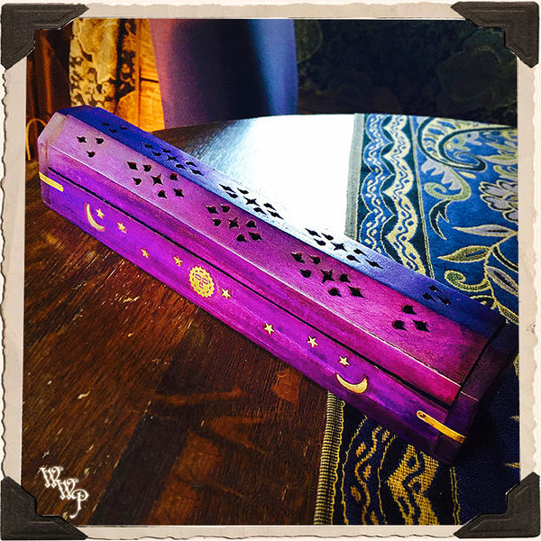PURPLE COFFIN BOX. Wooden Incense Burner with sun, moon and stars. Incense Stick & Cone Holder.