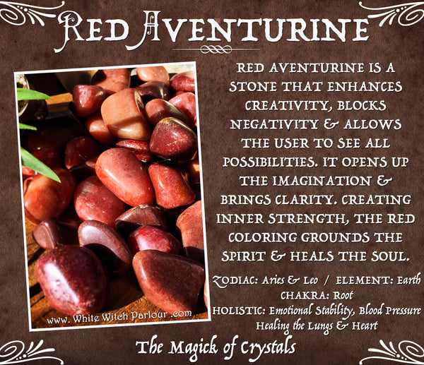 RED AVENTURINE TUMBLED CRYSTAL. For Grounding, Stability & Imagination.