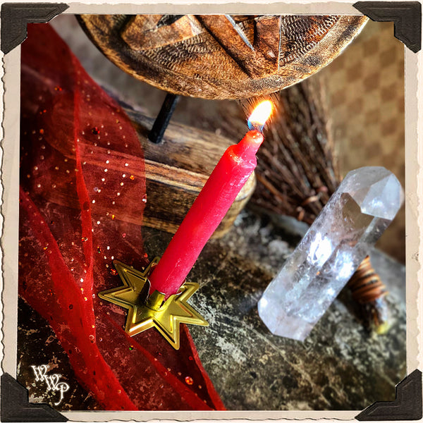 RED SPELL CANDLES. 9 Pack - Unscented. Mini Taper Candle Magick for Fire, Earth Element & Root Chakra.