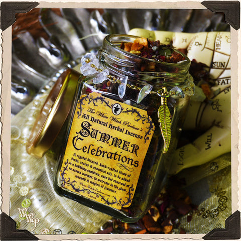 SUMMER CELEBRATIONS. All Natural Herbal Incense. Summer Solstice Cauldron Blend. Blessed by Clear Quartz Crystals.