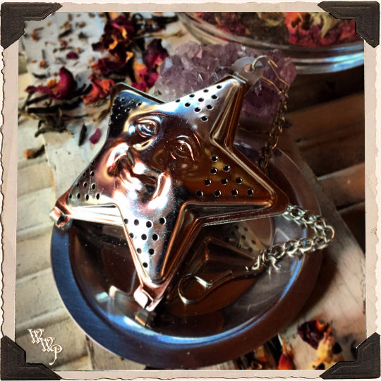 PENTACLE STAR TEA STRAINER with drip plate. For herbal & loose leaf teas.