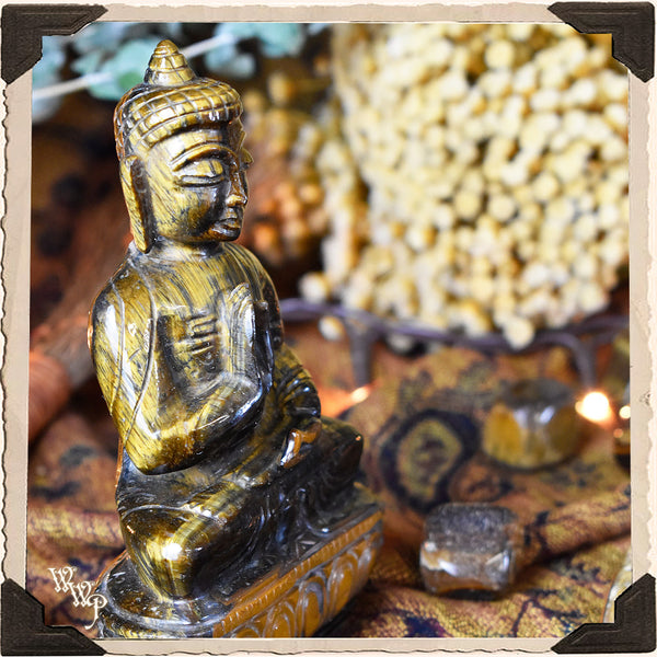 BUDDHA CARVED TIGER'S EYE STATUE. For Courage, Stability & Protection.