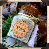 YULE APOTHECARY CANDLE 8oz. Winter Solstice. Scent of Balsam Fir Pine & Cedarwood. Blessed by Sunstone, Garnet & Bloodstone.