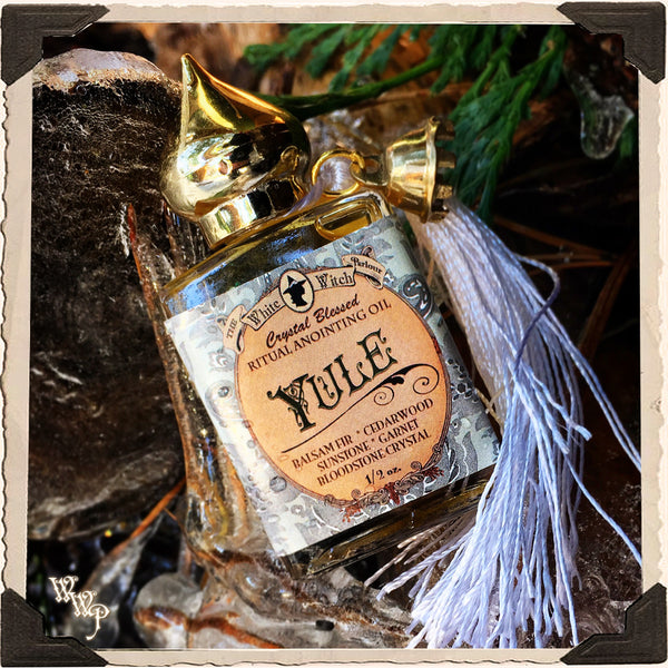 YULE Alchemy RITUAL OIL. Winter Solstice. Scent of Balsam Fir Pine & Cedarwood. Blessed by Sunstone, Garnet & Bloodstone.