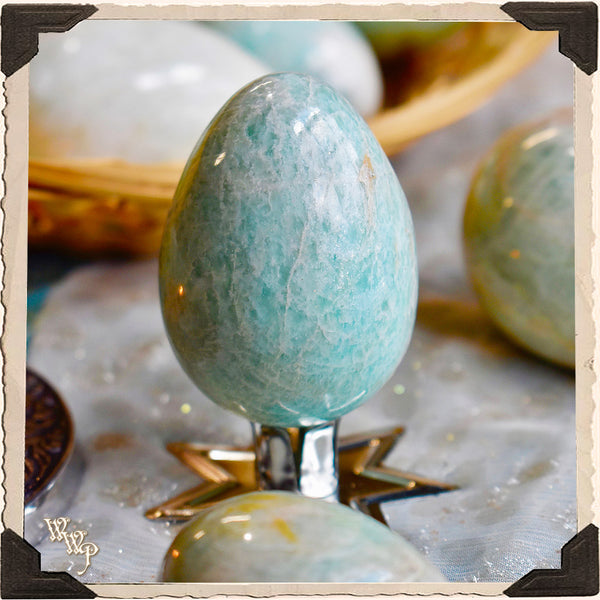 AMAZONITE CRYSTAL EGG. For Awakening, Harmony & Communication.