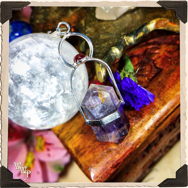 AMETHYST & GARNET CRYSTAL NECKLACE. For Enhancing Magick, Psychic Awareness & Protection.